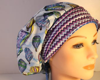 Scrub Cap Surgical Medical Chemo Chef Vet Doctor Nurse Hat Banded Bouffant Tie Back Hot Air Balloons Blue Purple Chevron