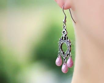 Chandelier Earrings Silver Drop Earrings Dangle Pink Earrings Silver Bohemian Earrings Boho Earrings Silver Pink Earrings Pink Drop Earrings