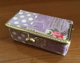 Eiffel Tower & Rose, Purple - Framed Cosmetic Box/ Makeup Pouch/ Mini Bag/ Kisslock- Handmade in Japan by Chikaberry