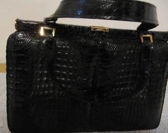 Croc leather pocket