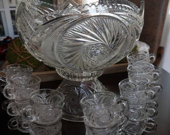 FREE SHIPPING, Vintage,  Aztec Glass Punch Bowl with 24 Cups and Stand