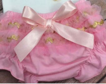 Add-On Ruffle Bum Bloomers in Pink and Gold with Ribbon and Bow Accents