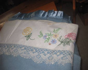 Vtg J C Penny Blue 100 Wool Golden Dawn SIlk end 72x90 blanket with hand made linen deco end cross stitch gorgoues