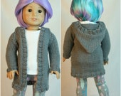 """American Made for Girl Doll, Hand Knit Sweater, Gray Sweater,  18"""" doll clothes, Hand Knit Clothes, Spring Sweater, Doll Sweater, Hoodie"""