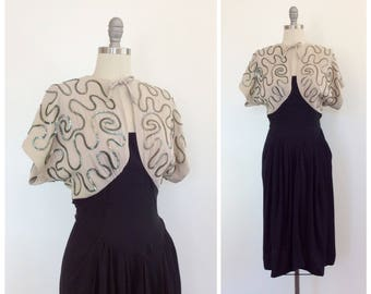40s Black & Taupe Crepe Green Sequin Dress / 1940s Vintage Open Back Party Dress / Medium / Size 6