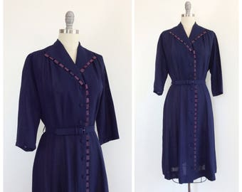 40s Dark Navy Blue Crepe Dress / 1940s Vintage Day Dress / Medium / Size 10