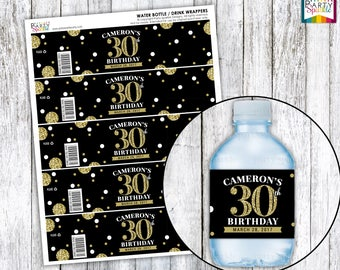 """Black, White and Gold Glitter 30th or *ANY AGE* Birthday Party Water Bottle Drink Wraps Personalized Digital Printable 2x8"""" labels .pdf file"""