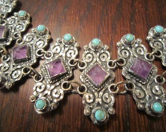 Style of Matilde Poulat  Necklace Sterling, Amethyst, Turquoise