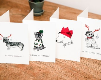 A pack of 4 funny beautiful DOG Christmas cards
