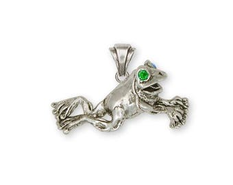 Frog Pendant Jewelry Sterling Silver Handmade Frog Pendant FG11-XP