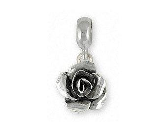 Rose Charm Slide Jewelry Sterling Silver Handmade Flower Charm Slide RS4-PNS