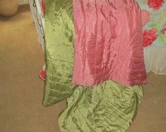 Vintage Hollywood Glam Pink/Green Satin Taffeta Quilt Throw Blanket Cottage Chic