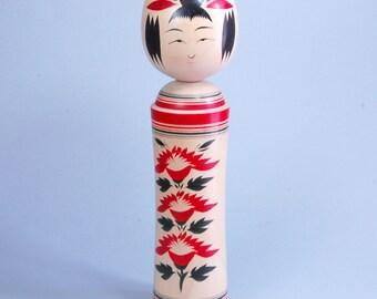 Vintage Japanese Kokeshi turned wood doll artist signature  large 11 1/2 inches