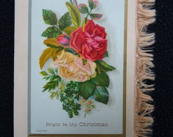 Antique Victorian Printed Card & Silk Fringe Christmas Greeting Card  - Roses - c1890