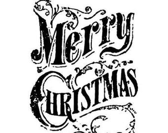 Tim Holtz Stamps MERRY CHRISTMAS Texture Fades Embossing Folder 661609 1-cc52