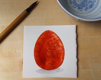 Carnelian Dragon Egg Watercolor Painting OOAK