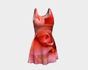 Pink Flare Dress, Skater Dress, Teen Clothing, Pink Rose dress, Reversible dress, Floral Flare Dress, Coral Skater Dress, Spandex Mini Dress