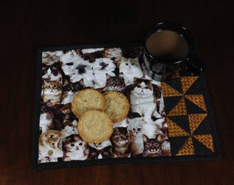 Cat Theme Mug Rug, Quilted Snack Mat, Mini Placemat, Luncheon Mat, Handmade Beverage Mat, Mini Quilt, Gift for Cat Lover, Gifts under 15
