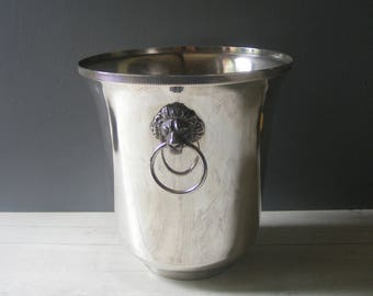 Vintage French Champagne Bucket,with lion handles,Silver Plated Metal.