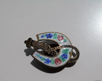 Victorian Cuff Button Brooch Enamelled Seaside Souvenir Helter Skelter Horseshoe Roses and Violets