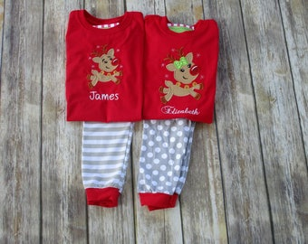 Personalized Children Christmas Pajamas- Reindeer Pajamas-Matching Outfits-Brother Sister Matching Outfits-Matching Sibling Pajamas