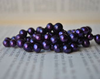 Purple Freshwater Pearl Necklace,  Vintage Components - Handknotted, New Old Stock Restrung Pearls