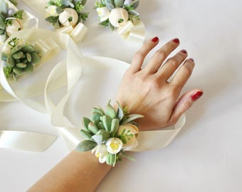 Succulent Corsage Bracelet Wedding flowers Peach Ivory Succulents Bridesmaid corsage Succulent wedding accessory Clay Flowers Prom corsage