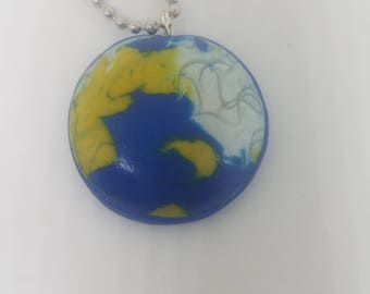 Blue And Yellow Handmade  Clay Pendant Necklace,
