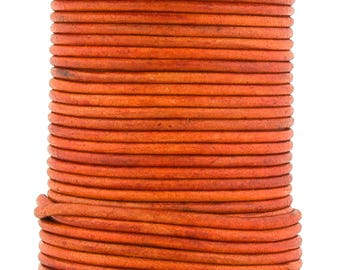 Xsotica® Orange Natural Dye Round Leather Cord 2mm 25 meters (27.34 yards)
