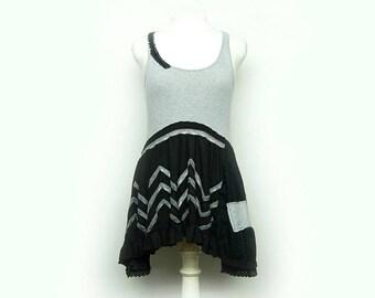 Black and Gray Tunic, Funky Artsy Tunic, Long Tunic, Eco Upcycled Clothing by Primitive Fringe