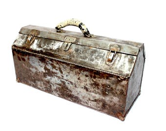 Retro industrial metal tool box polished steel castket style with tool tray