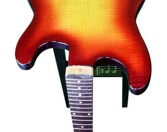Guitar End Table - Fiddleback Maple Cherry Sun Burst