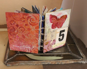"""One of a Kind  Little Hand Made   book Mixed Media Coptic Stitch Journal Hand Painted Paper Drawing Gel Prints """"A Way of Seeing"""""""