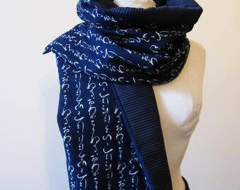 scarf reversible Japanese cotton and wool blue striped