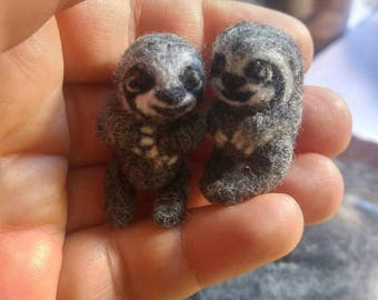Tiny micro miniature needlefelted critter,  a wool sloth