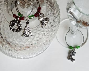 Multicolored Wine Glass Charms, set of 4 with Sorage Bag, Gift For Wine Lover, Stocking Suffers, Christmas Holiday Gifts, Party Supplies