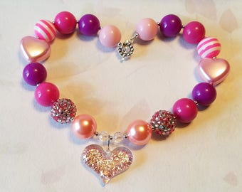 Valentine's Day Glitter Heart Pendant Chunky Beads Necklace, Bubblegum Bead, Heart Beads, Necklace Little Girls Jewelry Valentine Outfit