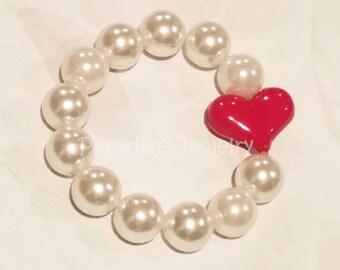 Pink Heart White Pearl Stretch Bracelet, Heart Bracelet, Heart Valentine Jewelry, Pink Heart Gift, Child Size Valentine Gift