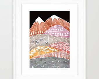 Watercolor painting Landscape painting Giclee Print mountains illustration whimsical mountains kids wall decor whimsical art sheep art
