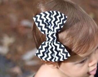 Black Chevron Bow   Bow Headband   Bow Hair Clip   Handmade Bow