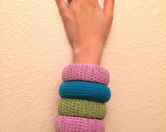 Knitted Bangle Bracelet Set