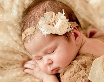 Baby girl headband infant toddler outfit Elastic headband with a flower stretchy headband light brown hair cappuccino flower and beads