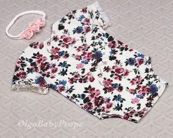 Newborn girl romper outfit newborn girl photo props floral romper baby girl open back short sleeve bodysuit props newborn photography prop