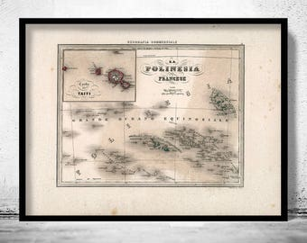 Old French Polynesia Map Antique 1858