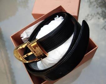 reserved Original vintage Authentic  Louis Vuitton  FRANCE PARIS black leather  belt   Paris LV with box woman women style