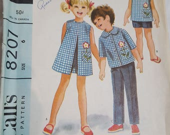 Vintage Pattern McCall's 8207 Girls Size 6 , Top Shirt, shorts, and pants