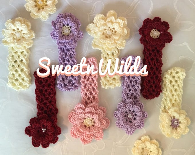 Crocheted Flower Headbands- Hairbands-Girls hairclips-READY TO SHIP-Baby Shower- Baby Headbands-