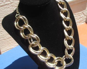 Retro Chunky Double Link Metal Necklace