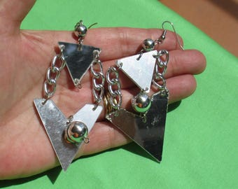 Retro Mirrored Look Triangular Shaped Dangling Pierced Earrings Repair Repurpose