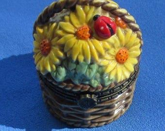 Vintage Yellow Orange Flower Ladybug National Home Gardening Club Trinket Box With Seed Pendant